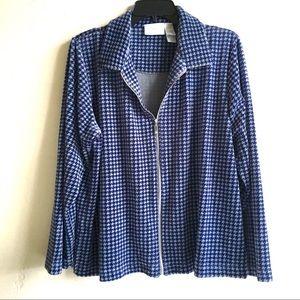 Blue Houndstooth Velour Zip Jacket LongSlv SzL $10